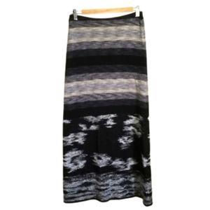 CHACOK Grey Abstract Print Knit Merino Maxi Skirt